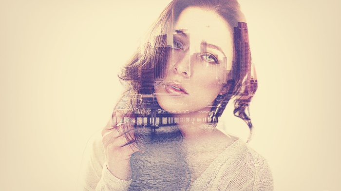 girl, photoshop, Double Exposure, face, town