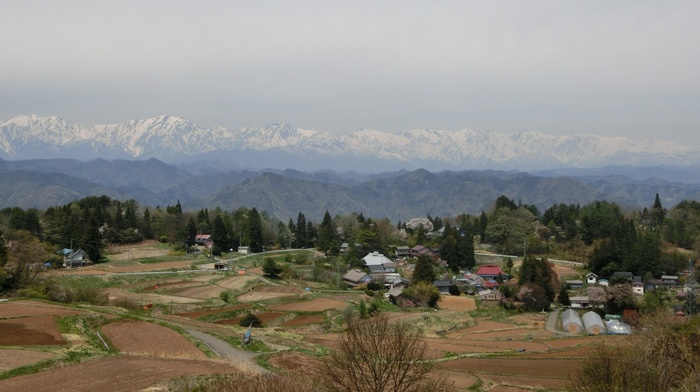 rural, peaceful, spring, Japan, landscape, mountains, village, horizon, terraced field, nature, Nagano Prefecture