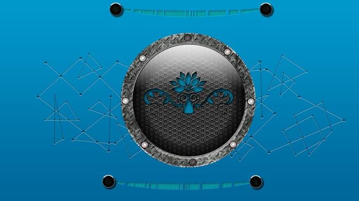 blue background, digital art, artwork