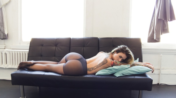 bottom up, topless, tattoo, pantyhose, blonde, lying down, lying on front, back, girl, ass, looking at viewer, Alysha Nett, lingerie, couch