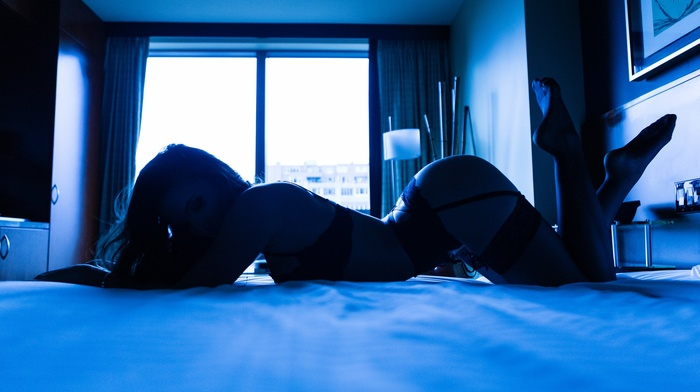 legs crossed, curvy, looking away, bottom up, lying on front, girl, in bed, lying down, legs together