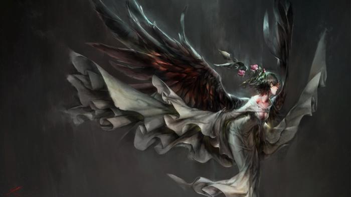 angel, anime girls, demon, anime, wings, angel wings