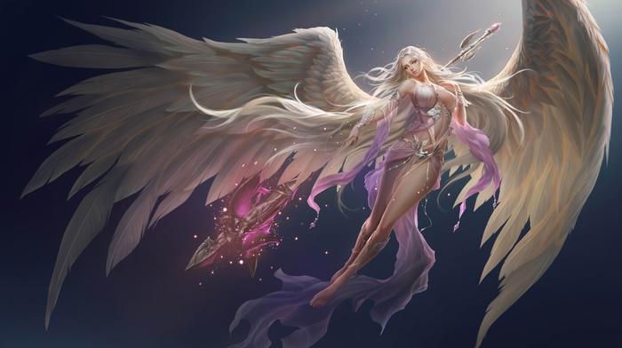 angel, demon, angel wings, anime girls, long hair, anime, wings