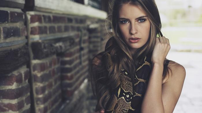 blue eyes, portrait, snake, face, animals, Camille Rochette, blonde