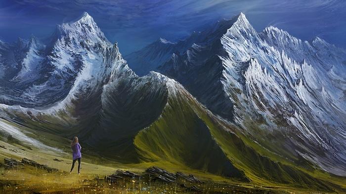 valley, landscape, clouds, digital art, snowy peak, mountains, hills, girl, grass, artwork, painting, nature
