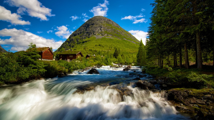 mountains, house, long exposure, water, rock, Norway, nature, stones, trees, hills, forest, landscape, stream, clouds