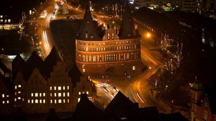 night, street light, architecture, Lbeck, trees, car, tower, street, long exposure, light trails, lights, old building, birds eye view, traffic, city, church, Germany, cityscape, rooftops