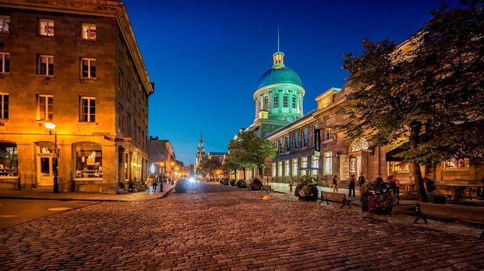 Quebec, night, Canada, street light, cityscape, people, city, dome, architecture, lights, old building, long exposure, trees, church, Montreal, street, tower