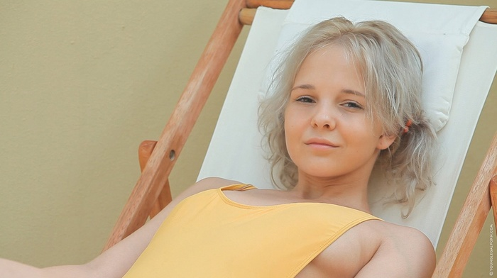 blonde, One, piece swimsuit, long hair, girl, deck chairs, Katerina Kozlova, sitting, looking at viewer, pornstar