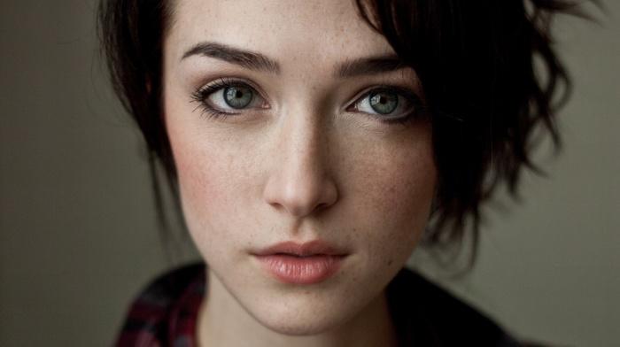 closeup, short hair, blue eyes, freckles, face, girl, brunette