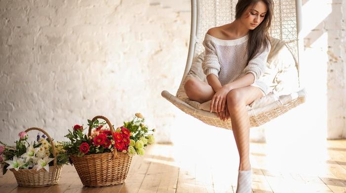 bare shoulders, model, girl, Alexey Tsyganov, closed eyes, legs, auburn hair, sitting, long hair, Mary Alexandrova