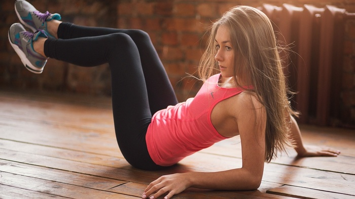wooden surface, long hair, Alexey Tsyganov, yoga pants, blonde, model, legs, girl, Nike, tank top