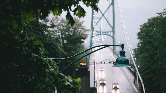 city, closeup, landscape, trees, Vancouver, bridge, urban