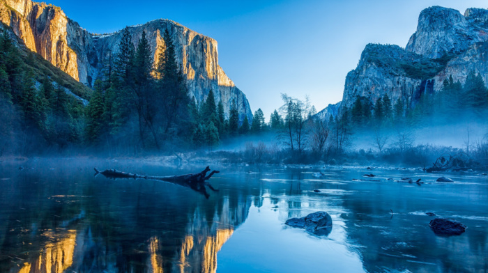 USA, Apple Inc., water, river, trees, Yosemite National Park, reflection, OS X, nature, yosemite valley, mist, california, landscape
