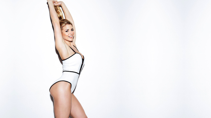 model, simple background, armpits, white background, Gemma Atkinson, One, piece swimsuit, blonde, ponytail, girl, arms up, looking at viewer, smiling