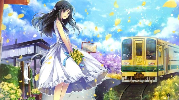 dress, train, anime girls, anime, flower petals, original characters