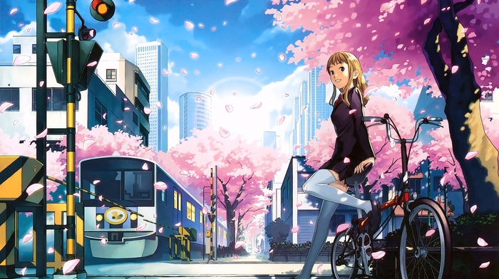 original characters, cherry blossom, anime girls, thigh, highs, anime, bicycle
