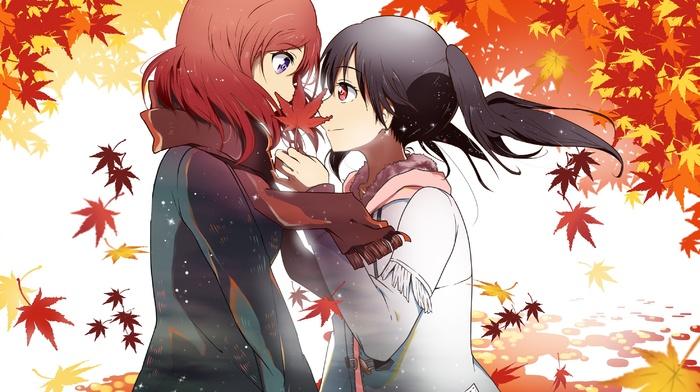 Yazawa Nico, fall, Love Live, anime girls, Nishikino Maki, leaves, scarf