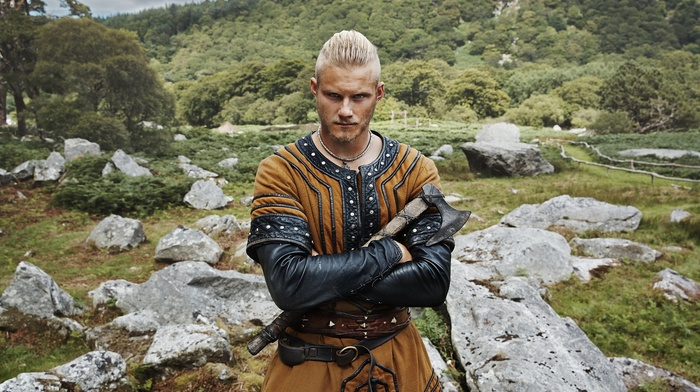 actor, Bjrn Ironside, Alexander Ludwig, men, TV, traditional clothing, Vikings TV series, axes, blonde