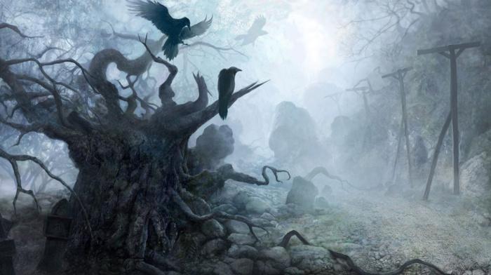 dark, trees, birds, animals, stones, creepy, roots, fantasy art, crow, mist, nature, column, branch