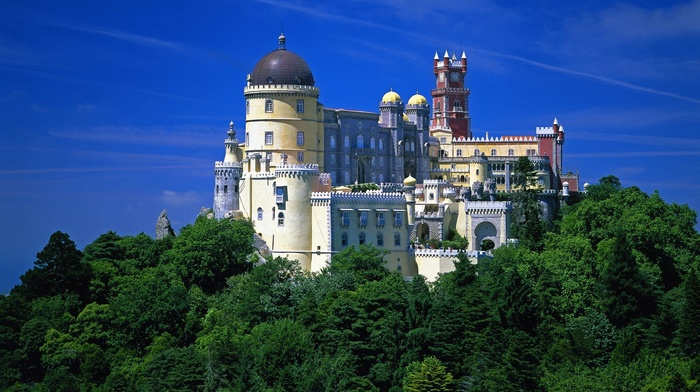 nature, building, rock, dome, forest, Portugal, Lisbon, architecture, castle, tower, clouds