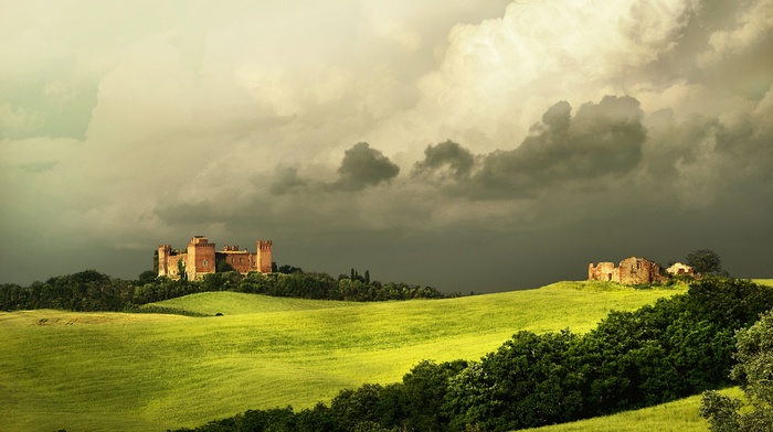 grass, Italy, ancient, clouds, castle, Tuscany, hills, forest, architecture, field, building, nature