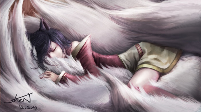 League of Legends, anime, sleeping, Ahri, video games, anime girls, animal ears