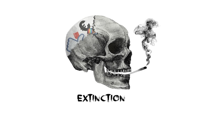 abstract, smoke, skull, social networks, simple, death