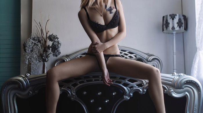 spread legs, black lingerie, skinny, girl, looking away, bed, tattoo, blonde, sitting