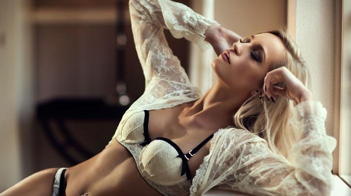 see, through clothing, lingerie, blonde, model, bra, pierced navel, girl, panties, open shirt