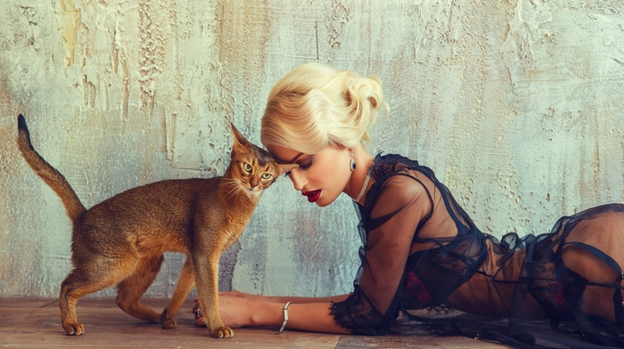 girl, blonde, cat, model