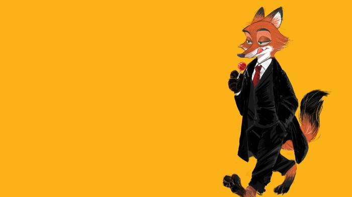 fox, Zootopia, simple background, nick wilde