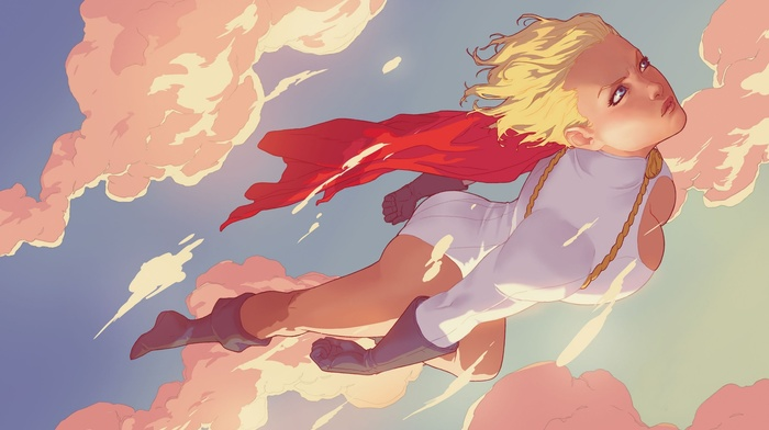 cape, Power Girl, DC Comics, gloves, sky, boots, comics, flying, clouds