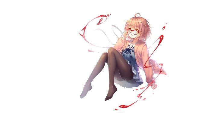 simple background, anime, anime girls, Kyoukai no Kanata, Kuriyama Mirai, glasses
