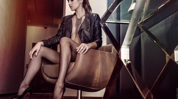 high heels, David Ben Ham, smoky eyes, chair, leather jackets, pantyhose, necklace, brunette, sitting, Barbara Morel, girl, no bra, small boobs