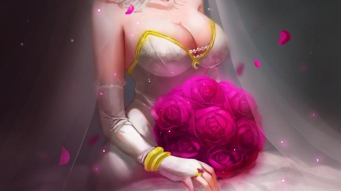Diana, wedding dress, cleavage, anime girls, League of Legends, dress, anime, no bra