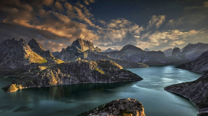 sky, island, sunset, Norway, mountains, sunlight, nature, clouds, fjord, Lofoten, landscape