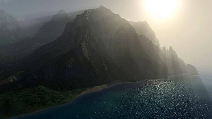 beach, aerial view, mist, CGI, coast, sea, nature, sunlight, mountains, landscape, sun rays, cliff