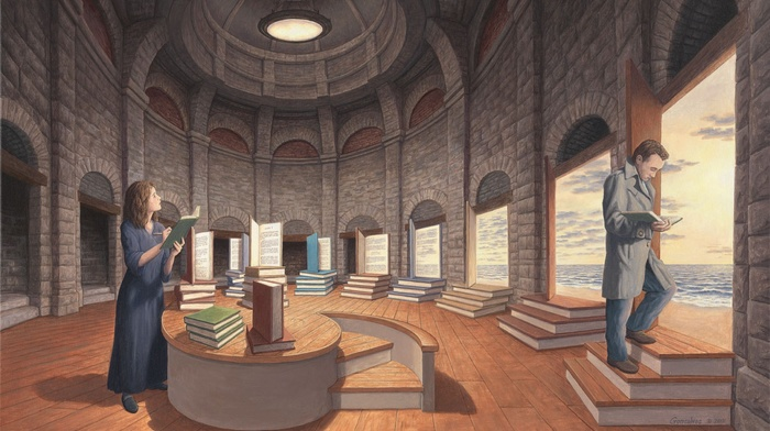 clouds, shadow, men, sea, interior, digital art, books, dome, girl, optical illusion, drawing, artwork, reading, stairs, arch