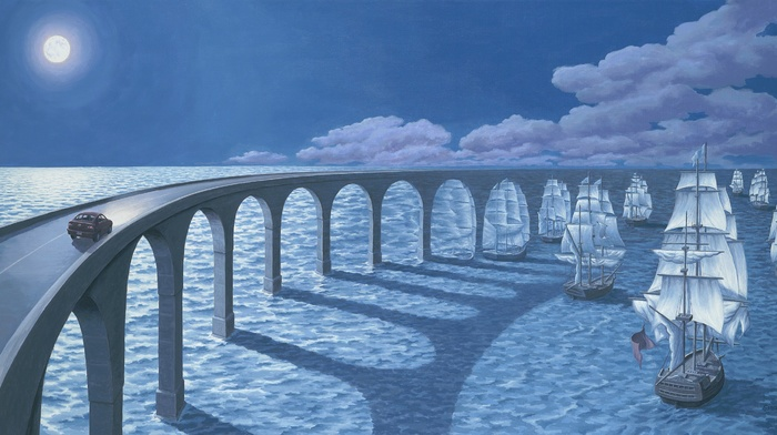 car, sea, arch, Sun, shadow, drawing, digital art, Rob Gonsalves, sailing ship, horizon, bridge, optical illusion, clouds, artwork, sunlight