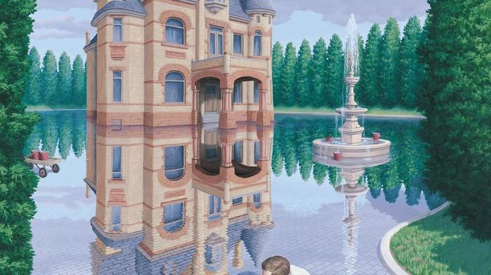 portrait display, artwork, fountain, men, digital art, tiles, water, forest, drawing, reflection, optical illusion, castle, trees