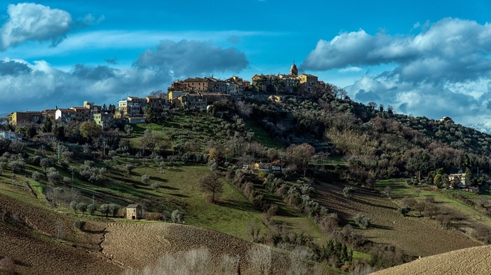 church, stone house, clouds, hills, forest, old building, trees, field, village, house, grass, architecture, landscape, Italy, nature