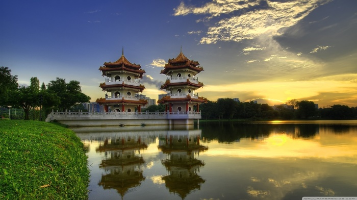 Singapore, pagoda, grass, nature, Sun, water, Asian architecture, landscape, architecture, forest, reflection, lake, trees, clouds