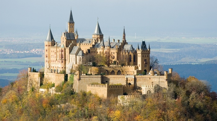 architecture, trees, landscape, nature, hills, fall, tower, ancient, castle, Hohenzollern, forest, Germany