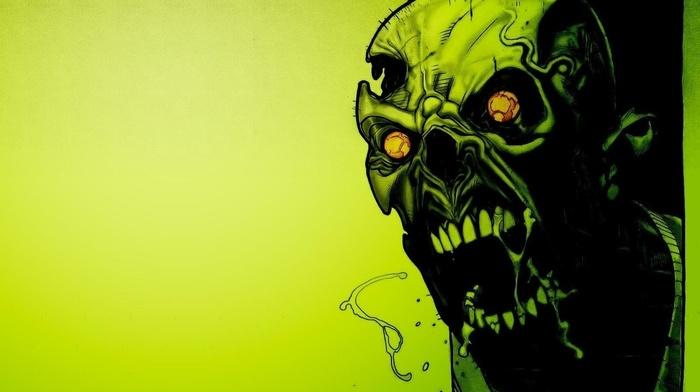 zombies, screaming, green, teeth, digital art, creepy, simple background, skull