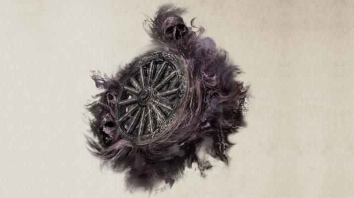 digital art, skull, simple background, smoke, creepy, wheels, death, blurred, Bloodborne, wood