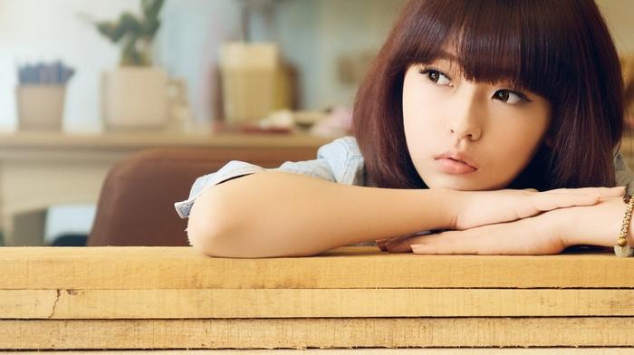 portrait, bangs, looking away, model, hands, short hair, Asian, bricks, face, wood, girl, brunette, brown eyes