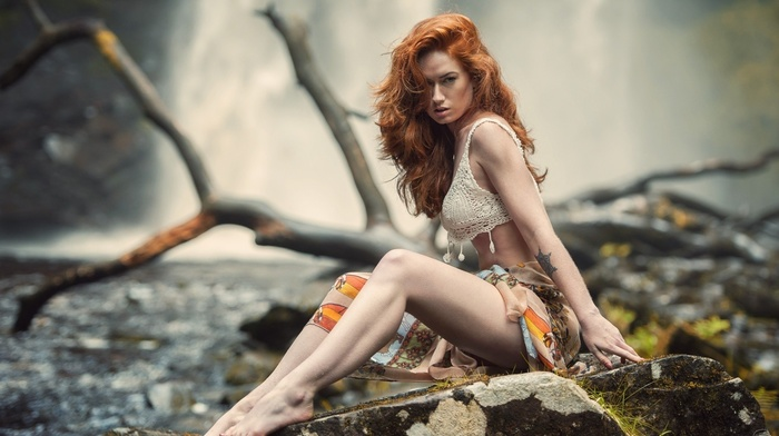 sitting, long hair, looking at viewer, fantasy girl, tattoo, lingerie, depth of field, nature, branch, feet, rock, redhead, girl, Jenny OSullivan, dead trees, nose rings, open mouth, waterfall, girl outdoors, model, skirt, bra
