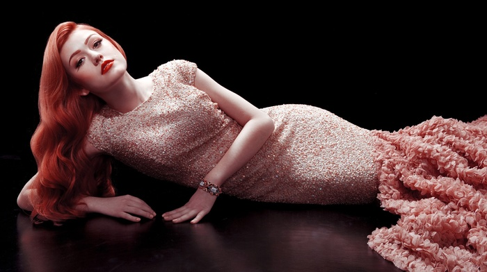 lying on side, Katherine Mcnamara, looking at viewer, red lipstick, redhead, actress, celebrity, girl