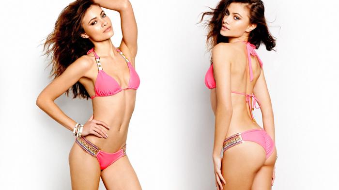 hands on head, looking at viewer, bikini, Yara Khmidan, swimwear, armpits, simple background, girl, collage, model, brunette, ass